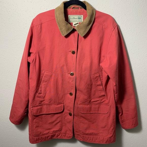L.L. Bean Jackets & Blazers - LLBEAN Womens Large Red Lined Barn Coat